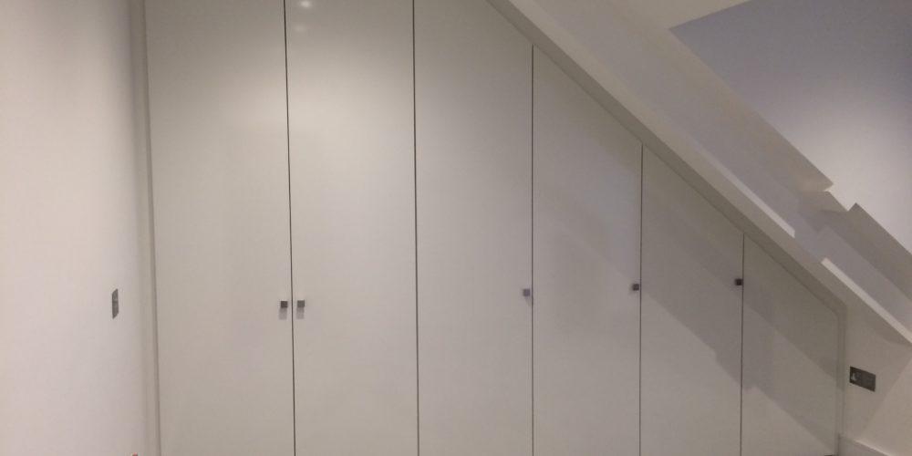 Hi gloss angled white doors